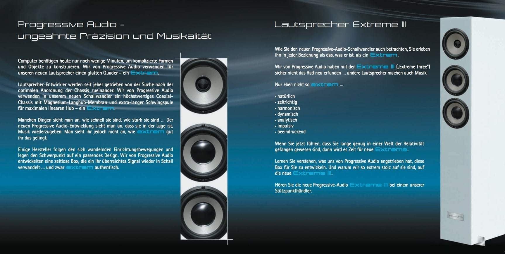 Prospekt Progressive Audio Extreme 3 zweite Seite