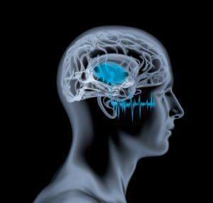 Schallwellen gelangen ins Ohr eines Mannes mit markiertem Gehörzentrum