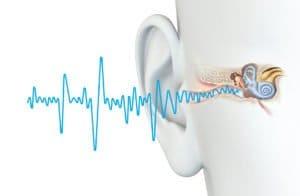 Schallwellen gelangen ins Ohr eines Mannes
