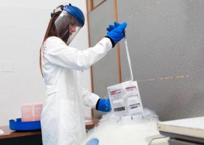 Woman working in a laboratory research
