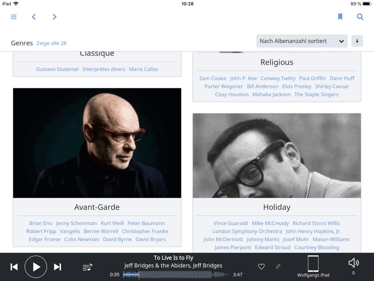 Roon Genres Übersicht